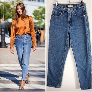 Vintage High Rise Jeans Mom Tapered Cotton Denim